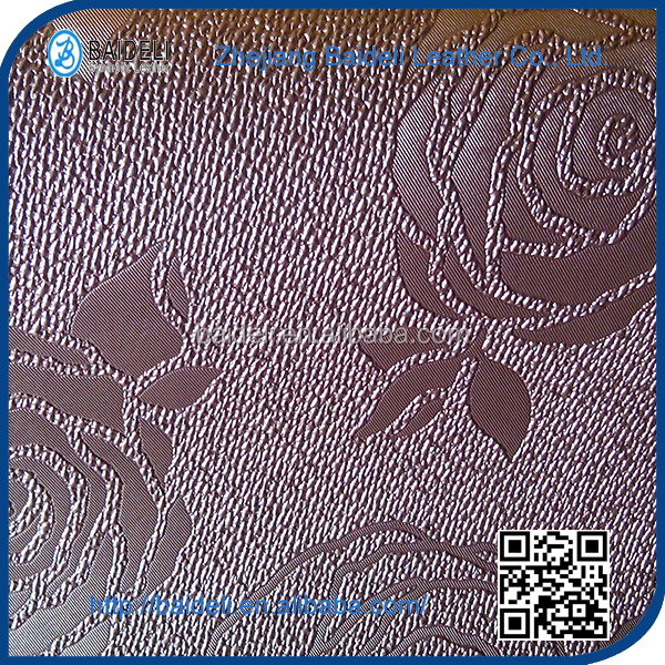 flower pattern purple leather pvc leather used for decoration