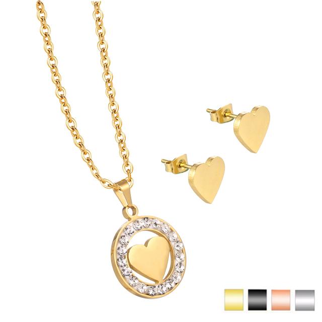 Hot Sale Charm Rose Gold Necklace Designs in 3 Grams Heart Pendant Children Necklace Sets