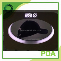 360 rotating magnetic levitation hat display stands with led light