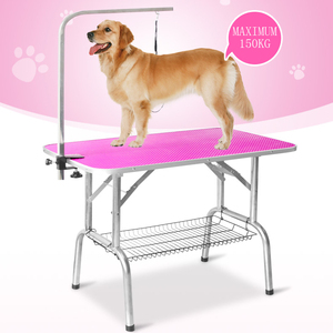 Easy carry foldable pet dog bath grooming table with removable arm