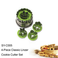 SY-C005 5-Piece Classic Linzer Stainless Steel Cookie Cutter Set Fruit and Vegetable Cutter Set