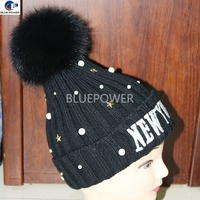 New York Embroidery Design Knitted Winter Hat with Real Fox Fur pom pom hat Bead Accessories