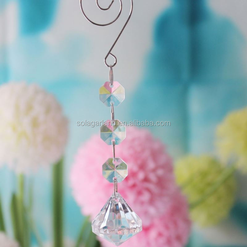 Cheap 14CM Clear Grade A Acrylic Cut Diamond Lamp Beading Prism Dropping