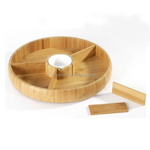 Practical Bamboo Revolving Plate With Removable Dividers