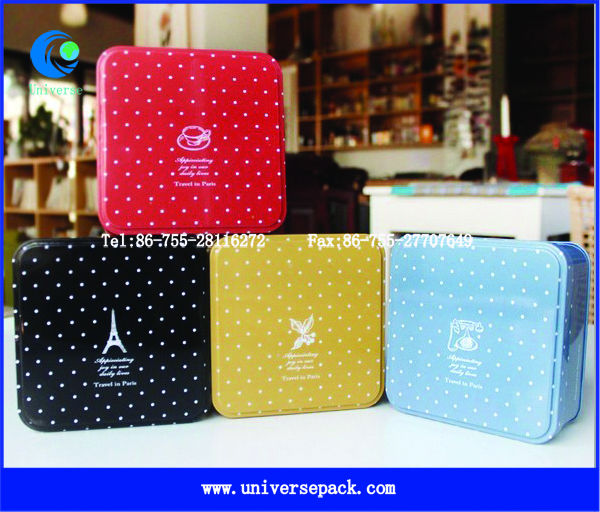 custom printed square tin box for food packaging