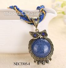 Blue Necklace Pendant Jewelry Owl Charm Necklace Fashion