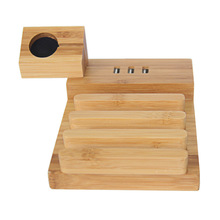Bamboo Wood USB Charging Station, Desk Stand Charger, 3 USB Ports Charger Stand for iPhone and Apple Watch