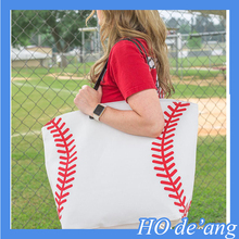 Hogift Stocked canvas shoulder bag baseball tote bag