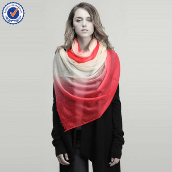 SWC503 Worsted 200NM Gradient Color Wholesale Thin Cashmere Scarf