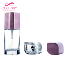 New arrival spray coating pink pump glass bottle liquid foundation container for cosmetic packaging