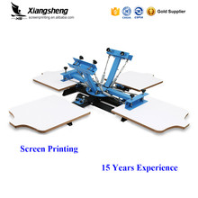 Hot sale screen printing 4 color press t-shirt print manual rotary machine