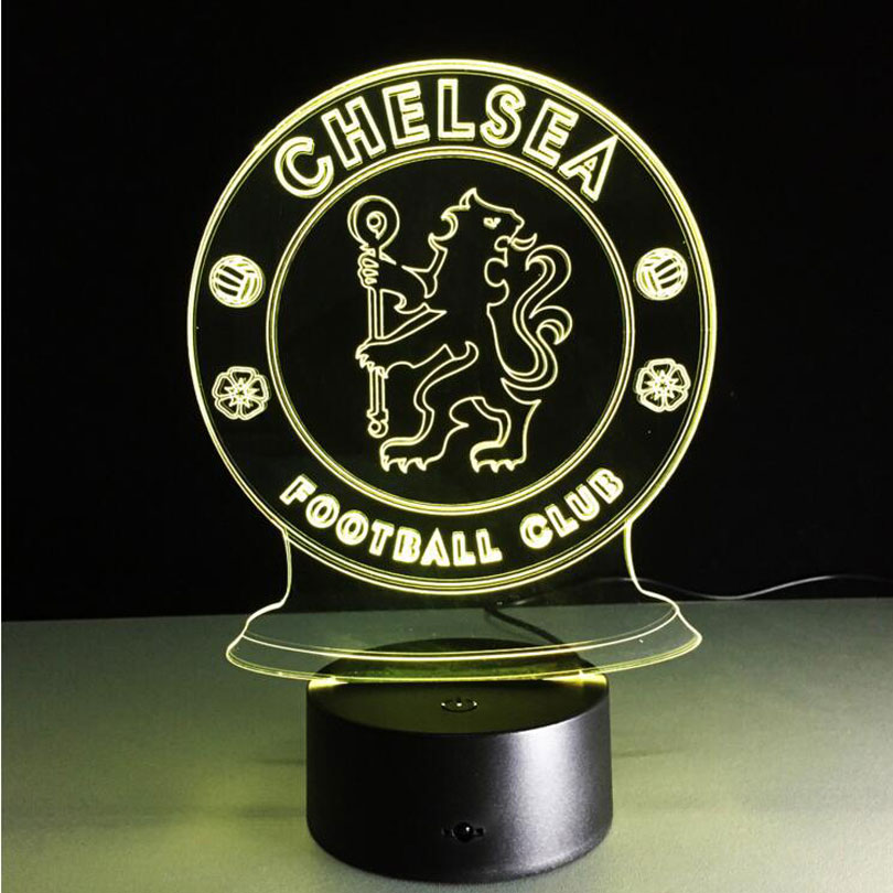 STL USB Novelty 3D Lights Chelsea Football Club LED Touch Lamp New creative modern table lamp Acrylic 3d lamp