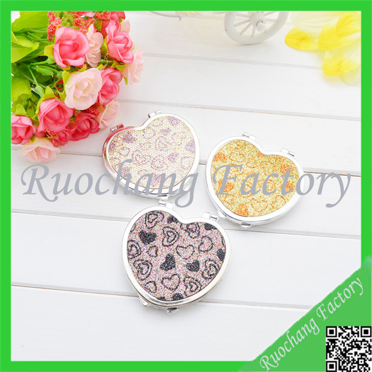 heart shape metal material packed mirror