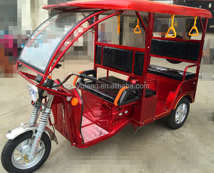 Eco-friendly three wheel electric tricycle for India passengers with car handle for India