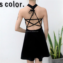 Gothic Japanese Virgin Killer Lace-Up Halter Black Dress Ballroon Night Club Sexy Appeal Women Dresses Backless Party Vestidos