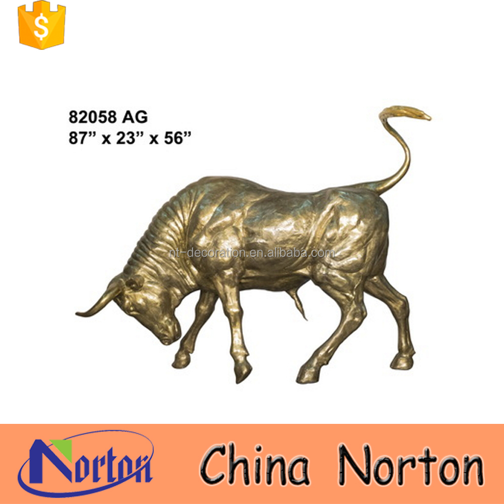 Wild life size garden decorative bull statue gold for sale NTBA-B028Y