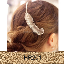 Hair Accessories Factory China Gold Hair Clip Feather Shaped Charm Metal Hairpins For Women