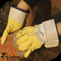 Yellow latex dip cotton drill gloves