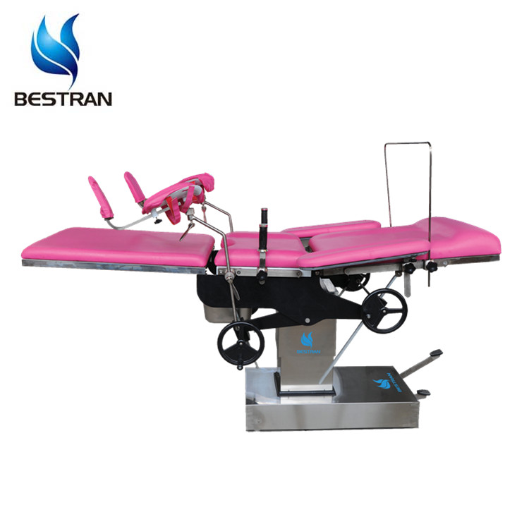 China BT-OE014 CE ISO stainless steel manual hydraulic obstetric table, labor and delivery bed sale