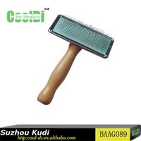 Pet grooming products wooden handle dog slicker brush