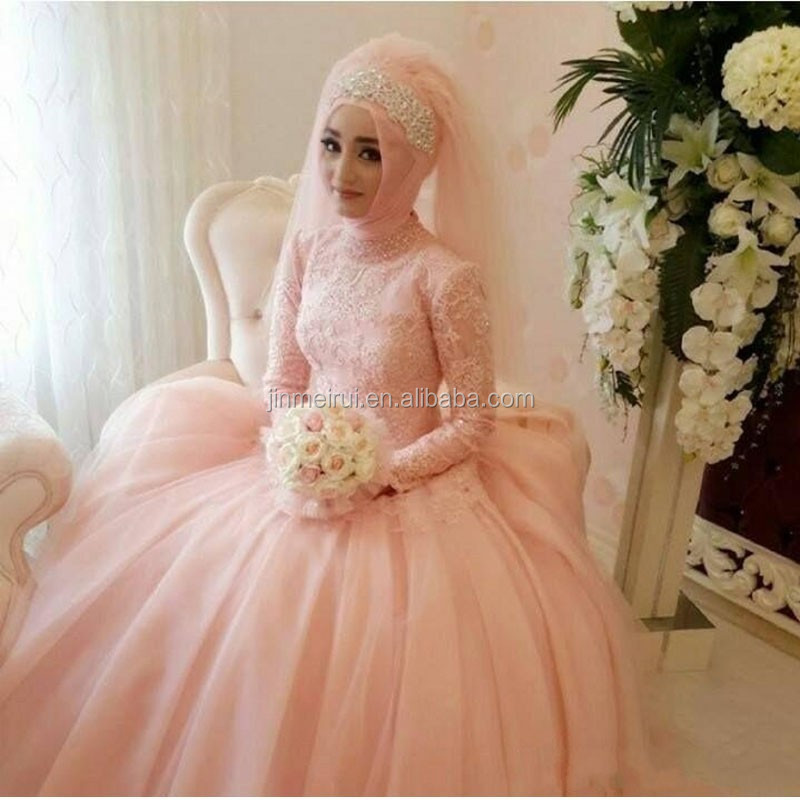 Muslim Wedding Dresses With Sleeves Vestido De Noiva Arabic Light ...