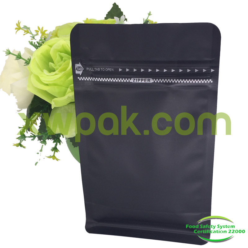 250g Matte Black Flat Bottom Coffee Bags with valve