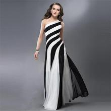 C71056A Lady black and white one shoulder long dress for women