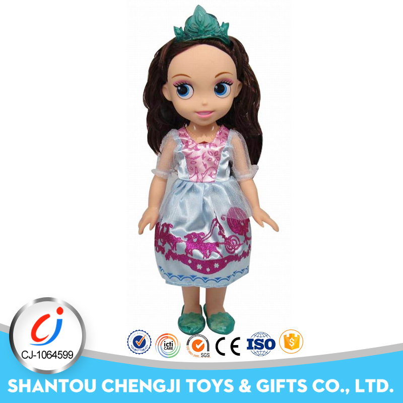 Lovely rubber toy 14 inch cheap plastic dolls with music for girl