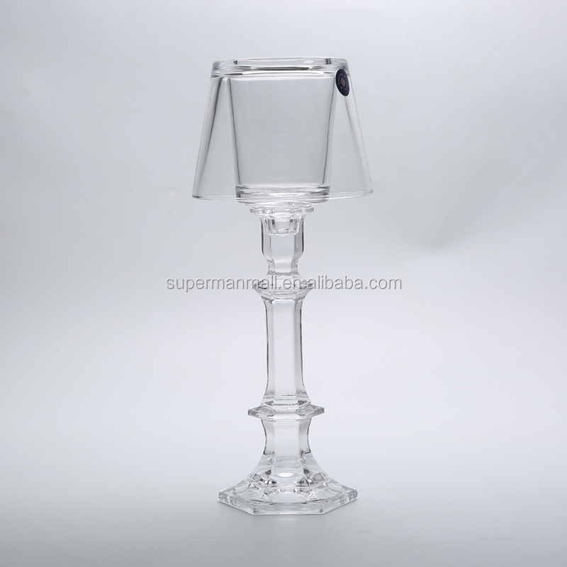 New style hollow glass candlestick holders for wedding centerpieces