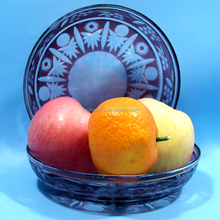 Hand cutting crystal clear glass plate glass dish Edo kiriko glass plate for fruits or snacks