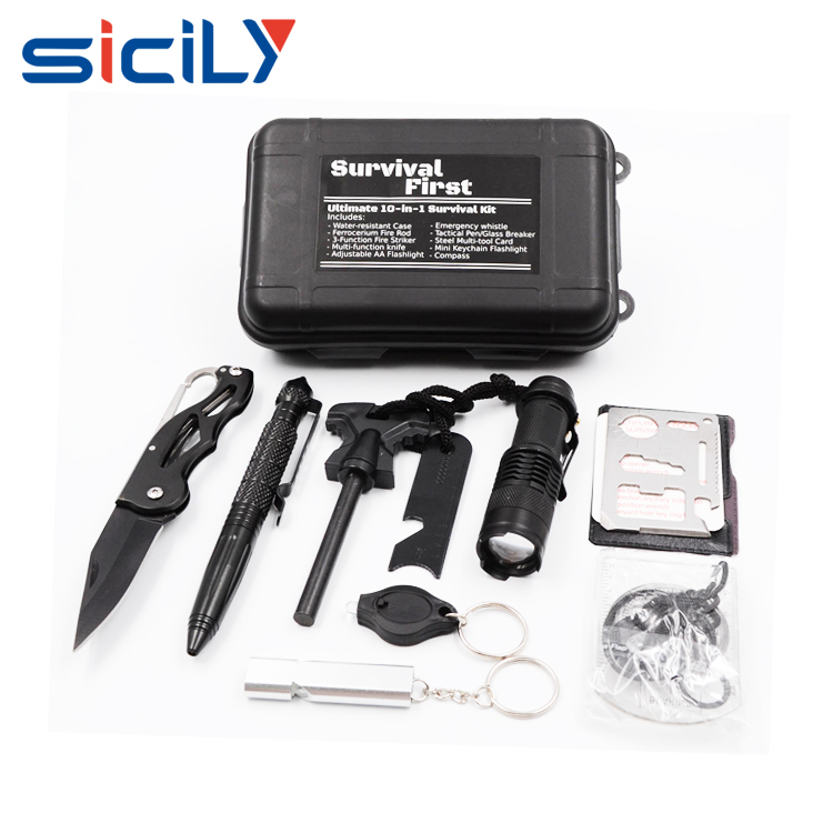 Survival Kit Outdoor Emergency Gear Kit Mini Hand Tool Kit <strong>Set</strong> for Camping Hiking Travelling