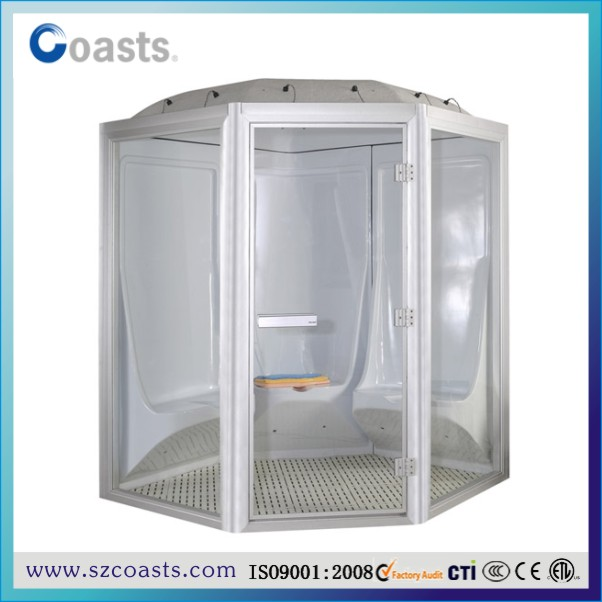 Factory customize enclosed steam shower room with accessories and steam generator