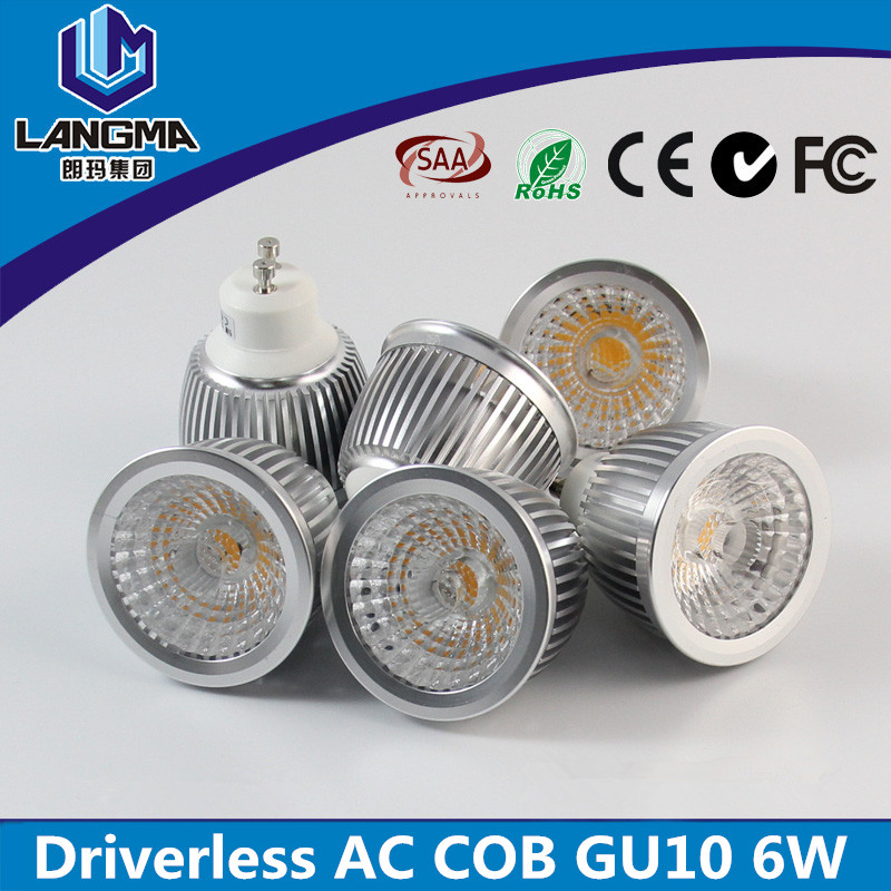 Hot selling 6 Watt cob gu10 led spotlight bulbs warm white ra>95