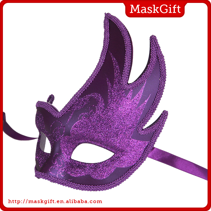 Fancy Purple Female Handicraft Masks Decorations Party Masks B002-PL