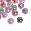 Acrylic Spacer Beads Round Clear AB Color At Random Crackle About 18mm Dia, Hole: Approx 2.5mm