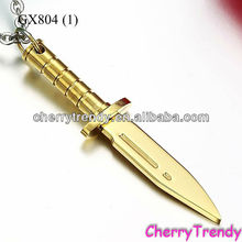 Men's Gold Dagger Necklace Jewelry