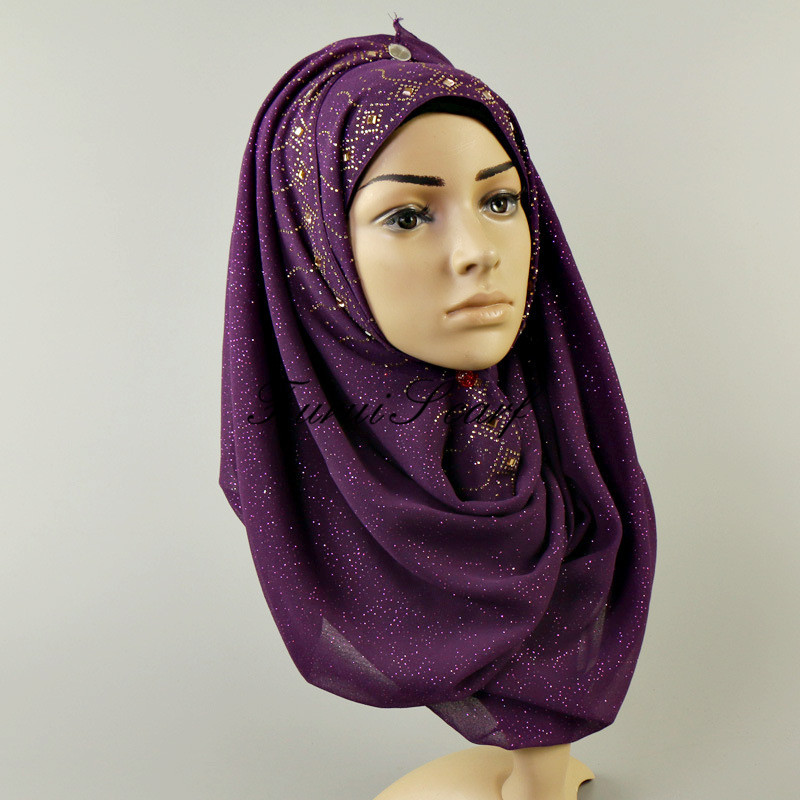 Top selling stylish shawl scarf muslim women scarf hijab chiffon hijab with stones