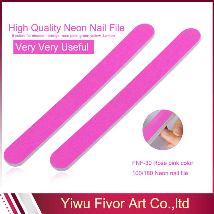 Promotional Logo Printed Pink Neon Wholesale Nail File