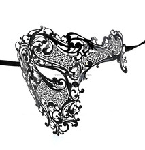 Masquerade ball supplies black color elegant metal mask with rhinestones Phantom of the Opera masks