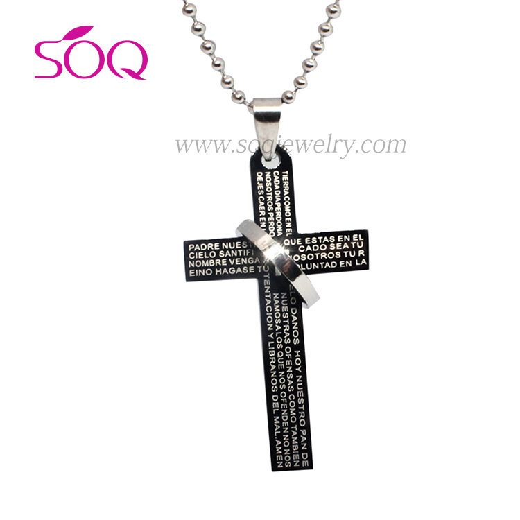SP18062905 Wholesale stainless steel wire western black cross witn charm handmade cross pendant