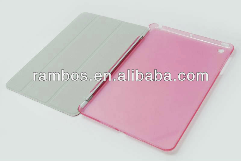 For iPad mini Plastic Back Cover Case with Front PU Smart cover