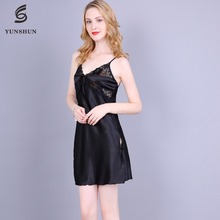 2018 new design satin sexy nighty for honeymoon images for see through dress nightgown