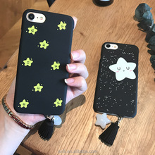 For iPhone 7 7 Plus 6 6 plus 2017 New Luxury Girls Fashion Glitter 3D Star Triangle Pendant Phone Case Bling Soft Back cover DIY