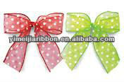 Polka dots printed nylon organza ribbon to make bow