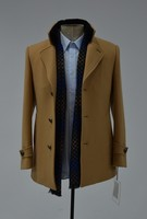 Korean Style Men Khaki Wool Cashmere Overcoat Trench Coat