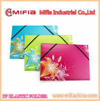 a4 Eco-friendly pp elastic document file folder with UV customized printing