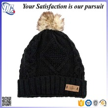 Custom leather patched knitted Winter fur ball beanie hat