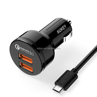 AUKEY Universal Car Charger with Dual USB Car Charger Quick Charge 3.0 Ports and Micro-USB Cable