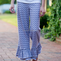 stylish baggy pants women, stripe blue cotton pants for women, cotton fabric women pants