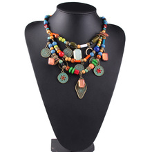 2016 Handcraft European bohimian Coin Fashion Jewelry Rainbow Beads String Necklace Pendants
